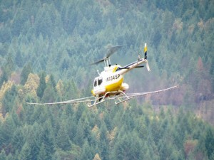 A helicopter used to spray herbicides in Douglas County in 2014. Oregon's aerial spray laws are the West Coast's weakest. (Courtesy of Dena Reynolds)